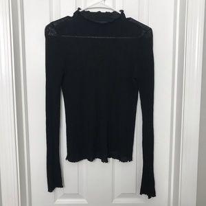 Zara Knit Black Long Sleeve Shirt / Blouse
